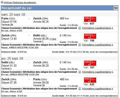 horaire d un vol retour de swiss air depuis delhi