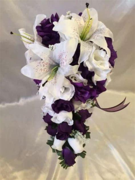 purple white wedding bridal bouquet cascade silk rose