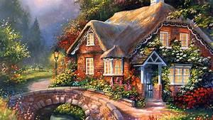 Painting, Summer, Creek, Cottage, Beautiful, Flowers ...