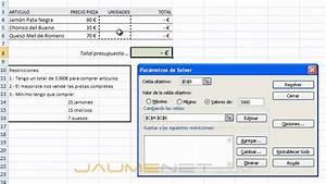 Excel 2007 Solver Ejemplo Sencillo