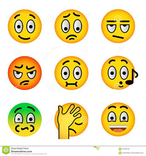 smiley face emoji flat vector icons set stock vector
