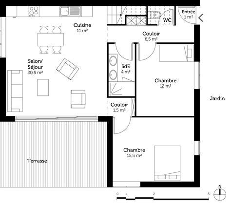 plan maison 1 chambre plan maison contemporaine 100 m ooreka