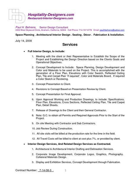 design agreement template images interior design