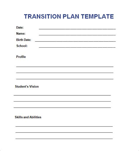 transition plan templates sample templates