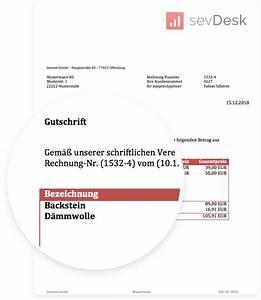 Fehlende Rechnung : gutschrift vorlage muster zum gratis download f r word von sevdesk ~ Themetempest.com Abrechnung