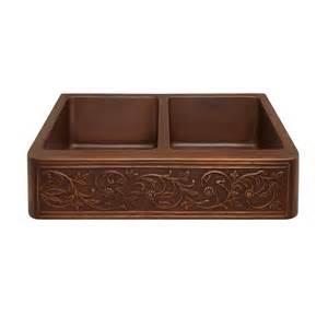 36 quot vine design double bowl copper farmhouse sink kitchen