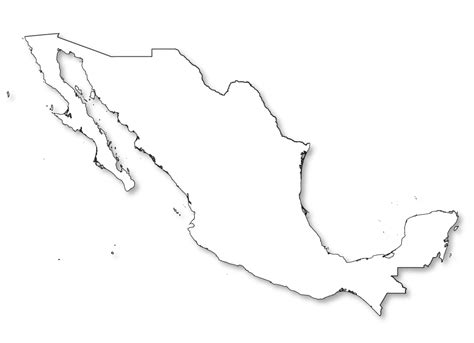 outline map  mexico  hd