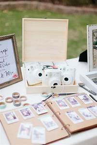 Guestbook Sign Wedding White Polaroid Cameras Sit On A Table Above A Sign In Book
