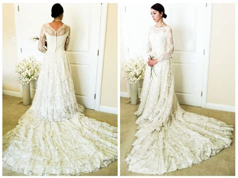 Vintage Lace Wedding Dress- Mid Century Long Sleeve, 1950s
