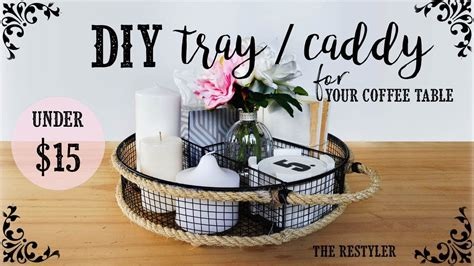 With fun rope handles and stenciled letter, this is a really easy and stylish diy project with a amazon.com   mind reader coffee condiment and accessories caddy organizer with 9 organizing compartments, bamboo brown: DIY Tray / Caddy + How I Style It   Farmhouse Style   Coffee Table Storage Idea - YouTube