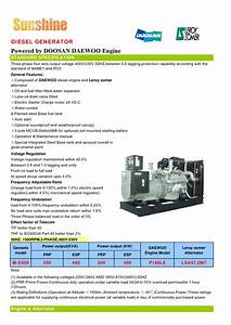 Doosan Diesel Generator Data Sheet