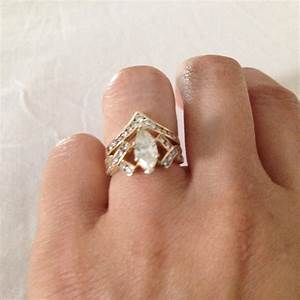 Gold Marquise Diamond Engagement Ring And Chevron Women39s