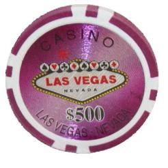 25 Purple Las Vegas Casino Poker Chips  $500 Chip Value