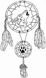 Coloring Pages Dreamcatcher Dream Catcher Printable Catchers Print Tattoo Wolf Designs Animal Tattoos Dragon sketch template
