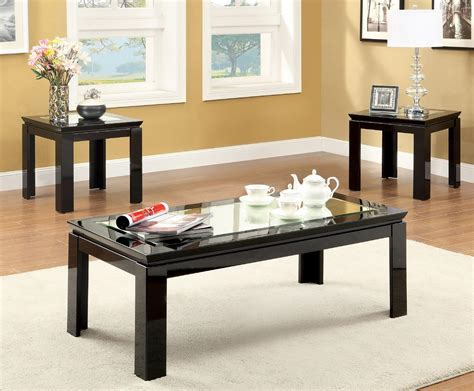 Carna Glass Top 3-piece Black Coffee Table Set