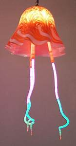 Jellyfish sculpture series in glass and neon 2