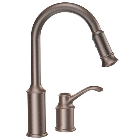 oil rubbed bronze sink sprayer moen aberdeen single handle pull down sprayer kitchen