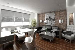 idee deco salon marron aux accents gris en 31 photos With tapis de souris personnalisé avec canapé cuir et bois massif