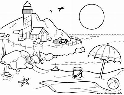 Coloring Summer Beach Printable Pages