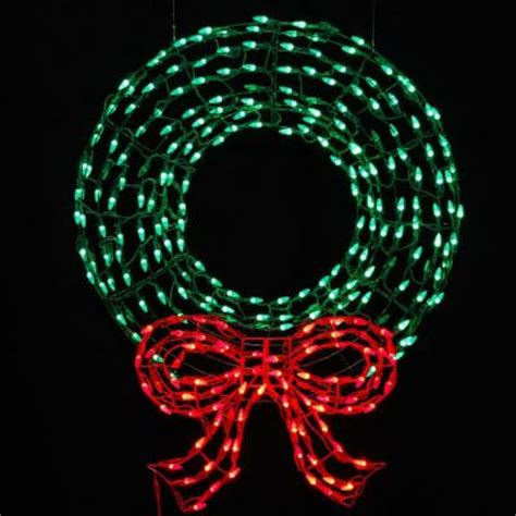 red c5 led christmas lights 36 in pre lit led outdoor wreath with bow sculpture and