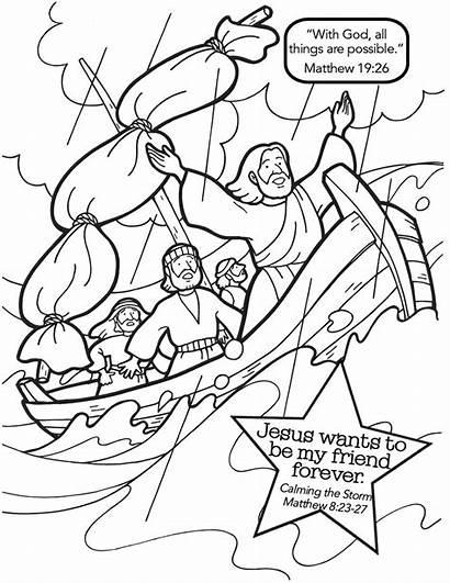 Jesus Storm Calms Coloring Pages Sea Bible