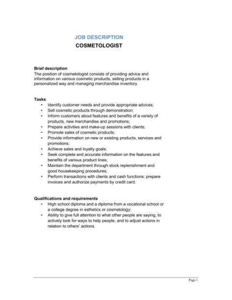 Cosmetology Dutiescosmetologist Job Description Template