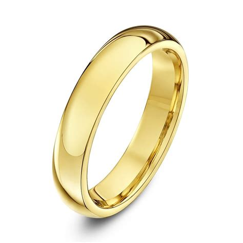 9ct yellow gold heavy weight court shape 4mm wedding ring