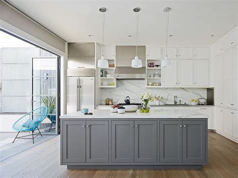 classic  trendy  gray  white kitchen ideas