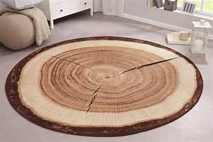 Teppich Rund 200 : dekorativer design teppich wood 200 cm rund baumstamm optik riess ~ Markanthonyermac.com Haus und Dekorationen