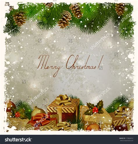 vintage christmas greetingcard firtree gifts stock vector