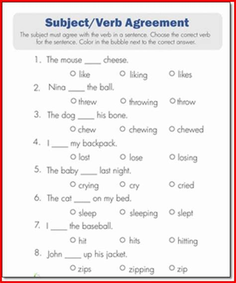Subject Verb Agreement Worksheets 2nd Grade Photos Leafsea