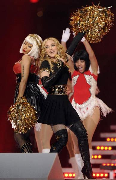 madonna performs  super bowl halftime show  nicki