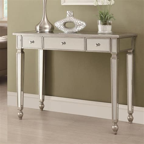 sofa table with outlet coaster 950014 silver glass console table steal a sofa