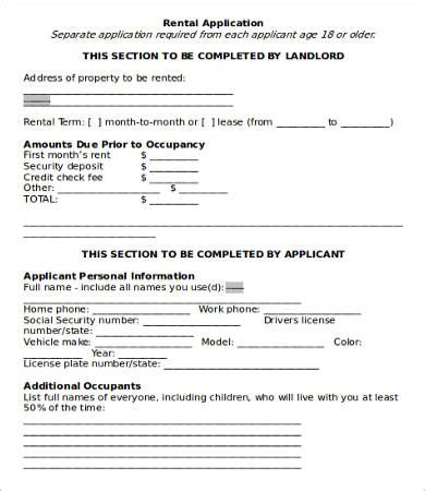 on site rental application form free rental application templates 10 free word pdf