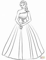 Coloring Gown Ball Quinceanera Shoulder Pages Drawing Template Sketch Quince Printable Templates sketch template