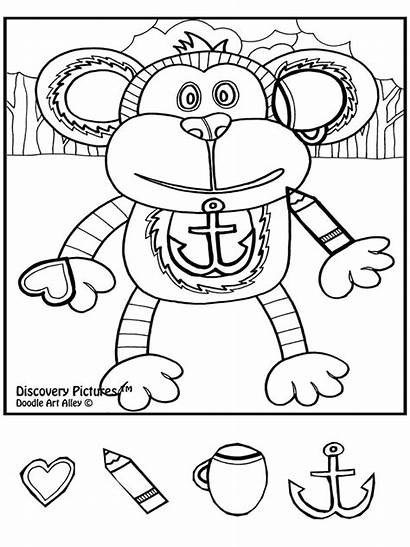 Coloring Pages Doodle Animal Safari Alley Monkey