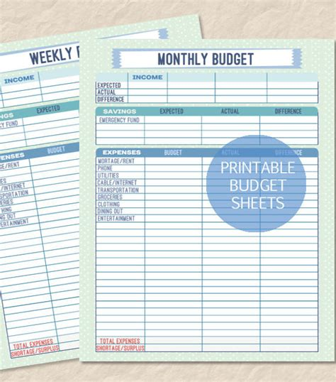 weekly budget templates  sample  format