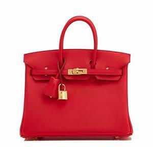 Hermes Birkin Bag 25cm Vermillion Red Swift Gold Hardware ...  Hermes