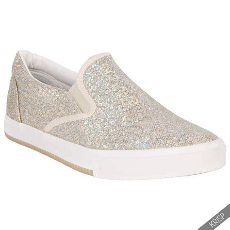 women ladies floral glitter slip  plimsolls trainers