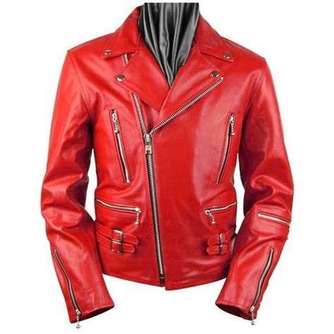 Arrow Mens Red Leather Zipper Motorcycle Jacket