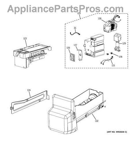 parts  ge pfsspkxass ice maker dispenser parts appliancepartsproscom