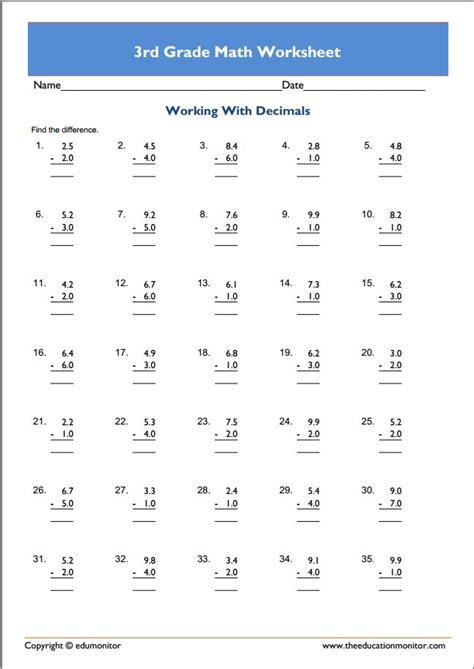 3rd grade math adding worksheet downloadable free 3rd grade math worksheets edumonitor