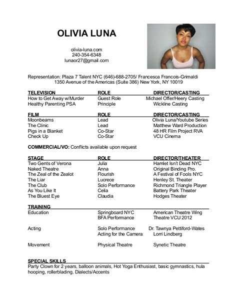 Proper Theatre Resume Format by Acting Resume