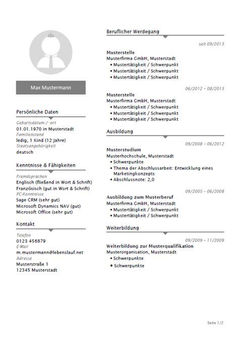 Lebenslauf Muster Vorlage Kostenlos by Lebenslauf Vorlagen Kostenlos Modern Professionell 2019