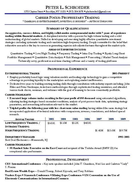 proprietary trading resume  prop trading sample