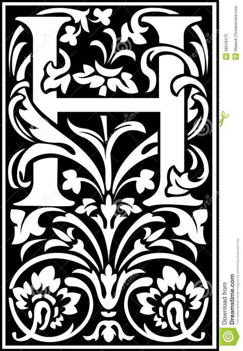 Flowers Decorative Letter H Balck And White Stock Photos