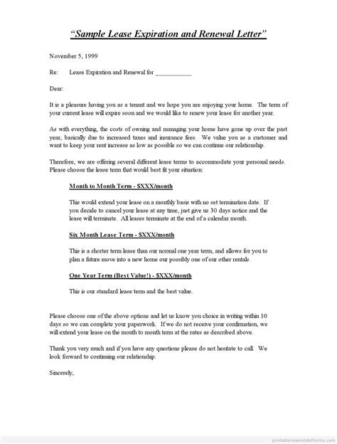 tenant renewal letter sample letter not renewing lease renewal of contract