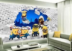 papier peint tapisserie 3d chambre enfant les minions With jeux de decoration de chambre de bebe