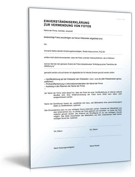einwilligung verwendung mitarbeiterfotos muster zum