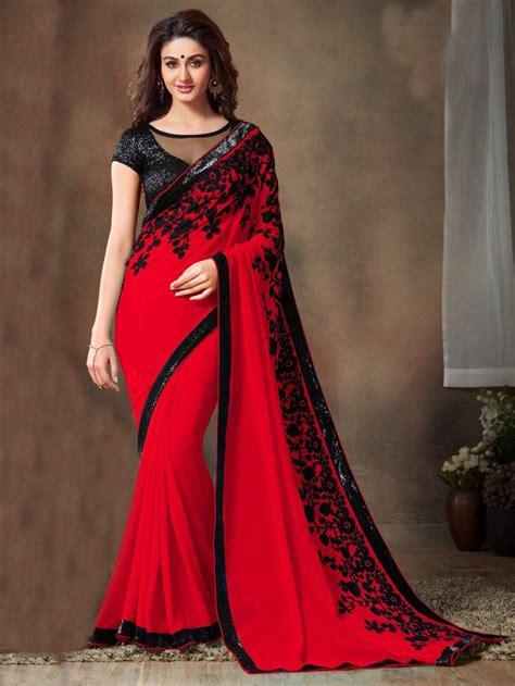 black saree blouse sarees black color embroidered designer